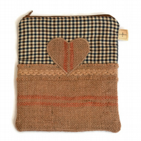 Hessian Heart Zippered Gadget Case, Make Up Bag or Pencil Case.