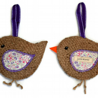 Pair of Hessian Bird Hanging Decorations. Set of 2