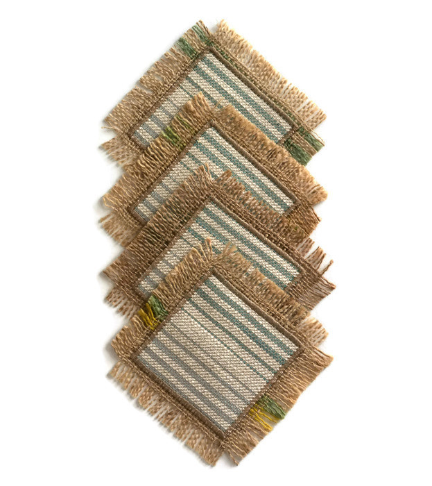 Green Hessian Coasters. Set of 4. Reversible, Green Striped