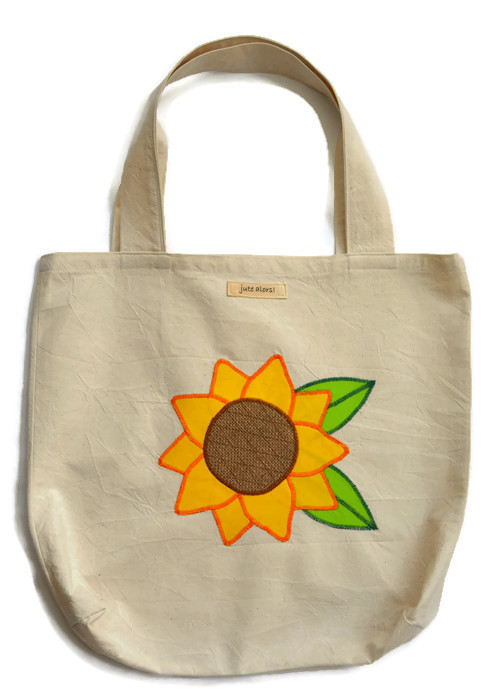 Sunflower Tote Shopping Bag. Handcrafted & decorated with coffee sack hessian.