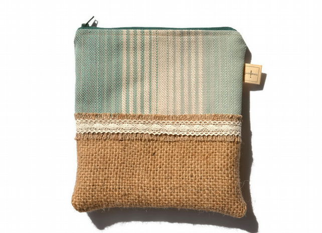Hessian and Lace Zippered Gadget Case, Make Up Bag or Pencil Case.