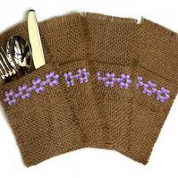 Hessian Cutlery Holders, set of 4. Lilac Flower and Coffee Sack Hessian