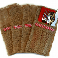 Hessian Cutlery Holders, Red Heart, set of 4.