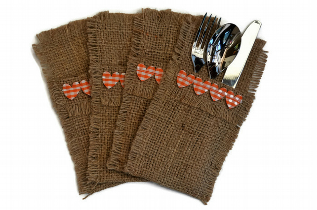 Hessian Cutlery Holders, set of 4. Orange Heart and Coffee Sack Hessian