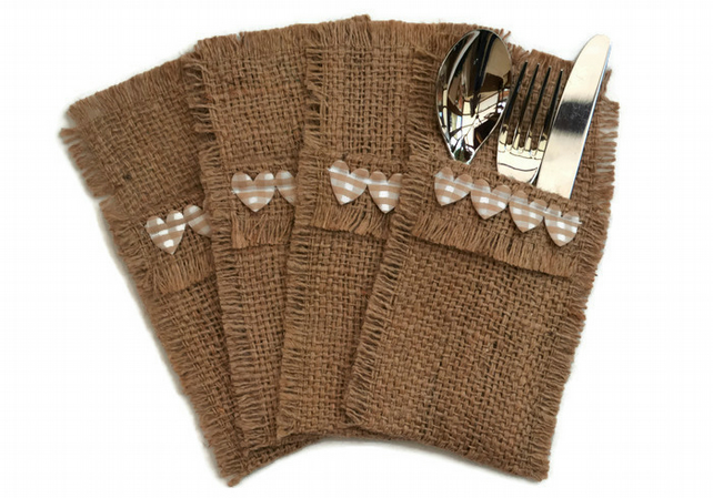 Hessian Cutlery Holders, set of 4. Heart trim and Coffee Sack Hessian