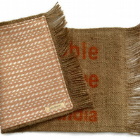 Hessian & Fabric Reversible Table Mat or Runner. 68cm by 30cm