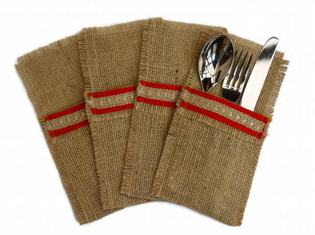Hessian Cutlery Holders, Red and Gold, set of 4. Coffee Sack Hessian, jute.