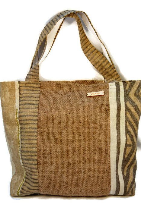 Hessian Beach bag, Eco-chic Tote. Handmade Upcycled Hessian Shoulder Bag.
