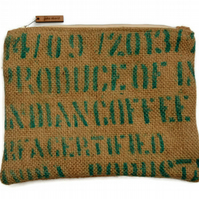 Zippered hessian pouch.  Handcrafted using hessian from a recycled coffee sack.
