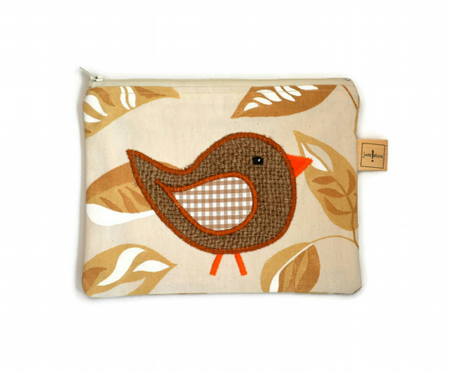 Hessian Bird Case.  Zippered Make up Case, Pencil Case.  Coffee sack hessian.