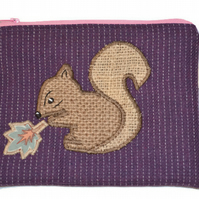 Hessian Squirrel Case. Zippered Make up Case, Pencil Case.  Coffee sack hessian.