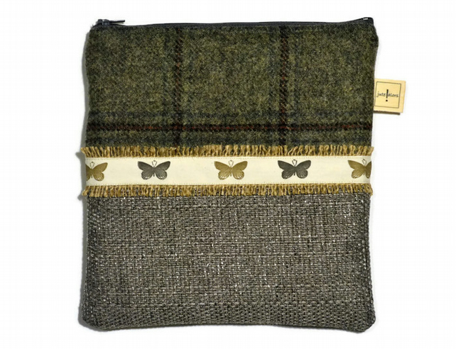 Silver Grey Tweed Butterfly Make up or Gadget Case