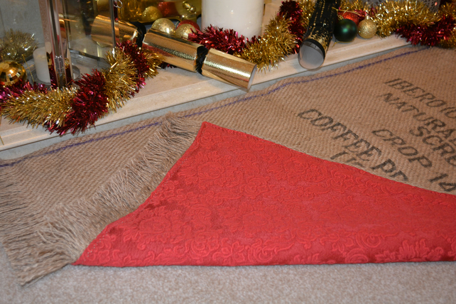 Christmas Tree Mat or Hearth Rug. Coffee Sack Hessian. Eco-friendly.