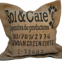 Coffee Sack Cushion Cover with Oxford Border, 20 x 20 inches (50cm). Handmade