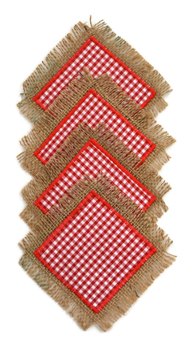 Red Checked Hessian Coasters. Set of 4. Reversible