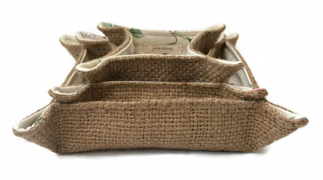 Hessian and Floral Storage Trays Set of 3, handcrafted from Coffee Sacks.