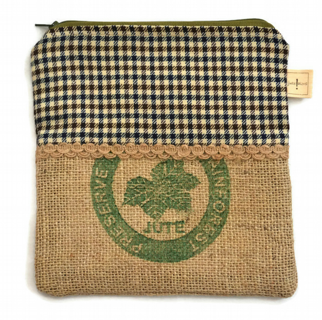 Hessian Zippered Pencil Case