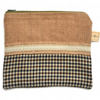 Hessian and Lace Zippered Make Up Case