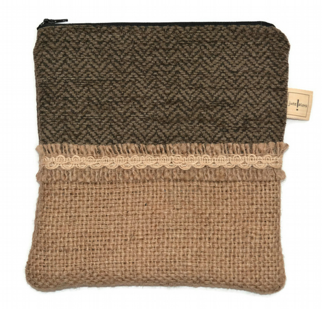 Hessian and Brown Zippered Case