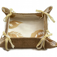 Hessian Folding Storage Basket, collapsible Bread Basket.