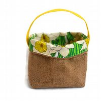 Hessian and Daffodil Fabric basket. Cheerful burlap, jute basket.