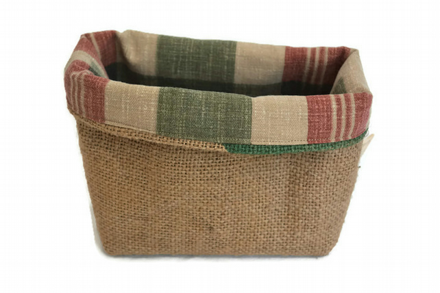 Rustic Hessian Basket. Handmade little basket with checked fabric lining.