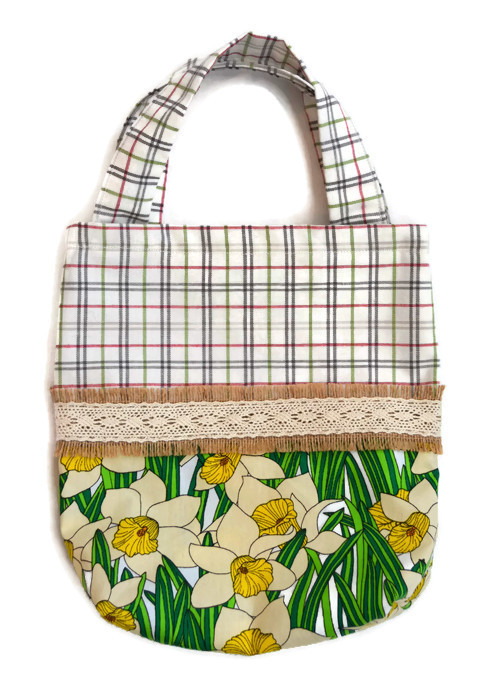 Daffodil Bag with Hessian Trim.  Children's Fabric Shopping Bag.