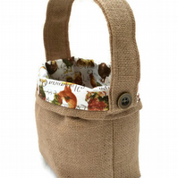Hessian and Chicken Fabric Basket. Egg Storage Basket.
