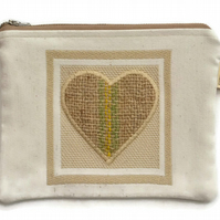 Hessian Heart Zippered Make up Case or Pencil Case.