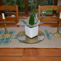 Coffee Sack Hessian & Fabric Reversible Table Mat or Runner. 100cm by 46cm