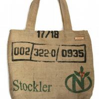 Coffee Sack Hessian Tote Shopping Bag, lined with zip pocket.