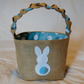 Easter Egg Basket, blue and white spotted lining and a cute Easter Bunny .