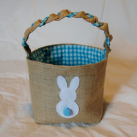Easter Egg Basket, blue checked lining and a cute Easter Bunny .
