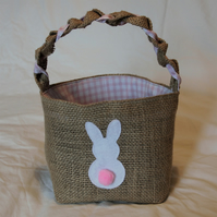 Hessian Rabbit Basket, with pink checked lining and a cute Bunny .