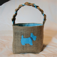 Scottie Dog Hessian Basket with blue and check lining, handcrafted with love.