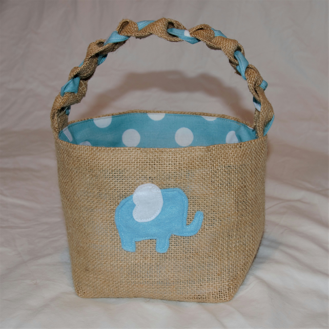 Elephant Hessian Basket with blue and white spotted lining, lovingly handcrafted