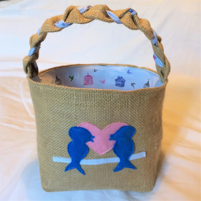 Bird Design Hessian Basket with lilac patterned cotton lining, handcrafted.