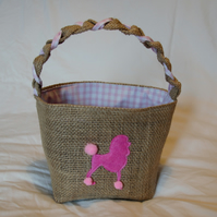 Pink Poodle Hessian Basket with pink check cotton lining, handcrafted with love.