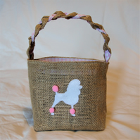 White Poodle Hessian Basket with pink check cotton lining handcrafted with love.