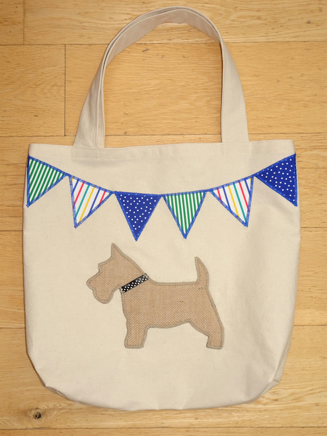 Scottie Dog and Bunting Tote Shopping Bag. Handcrafted with Hessian and Calico.