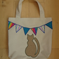 Cat and Bunting Shopping Bag. Handcrafted with Hessian and Calico.