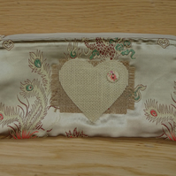 Gold coloured and Hessian Heart Zippered make up or pencil case.  Handcrafted.