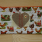 Chicken and Hessian Heart Zippered make up or pencil case.  Handcrafted.
