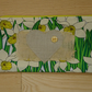 Daffodil and Hessian Heart Zippered make up case, pencil case.  Handcrafted