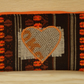 Vintage Fabric and Hessian Heart Zippered make up case, pencil case. Handcrafted