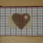 Checked Fabric and Hessian Heart Zippered make up case, pencil case. Handcrafted