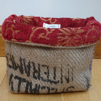 Coffee Sack Hessian Basket. Handmade little basket with brick red fabric lining
