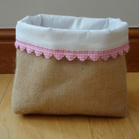 Hessian Basket with Pink Heart Trim and White Fabric Lining, Handcrafted.