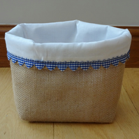 Hessian Basket with Blue Heart Trim and White Fabric Lining, Handcrafted.