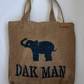 Hessian elephant tote. Handmade with recycled fabric & jute, fully lined.